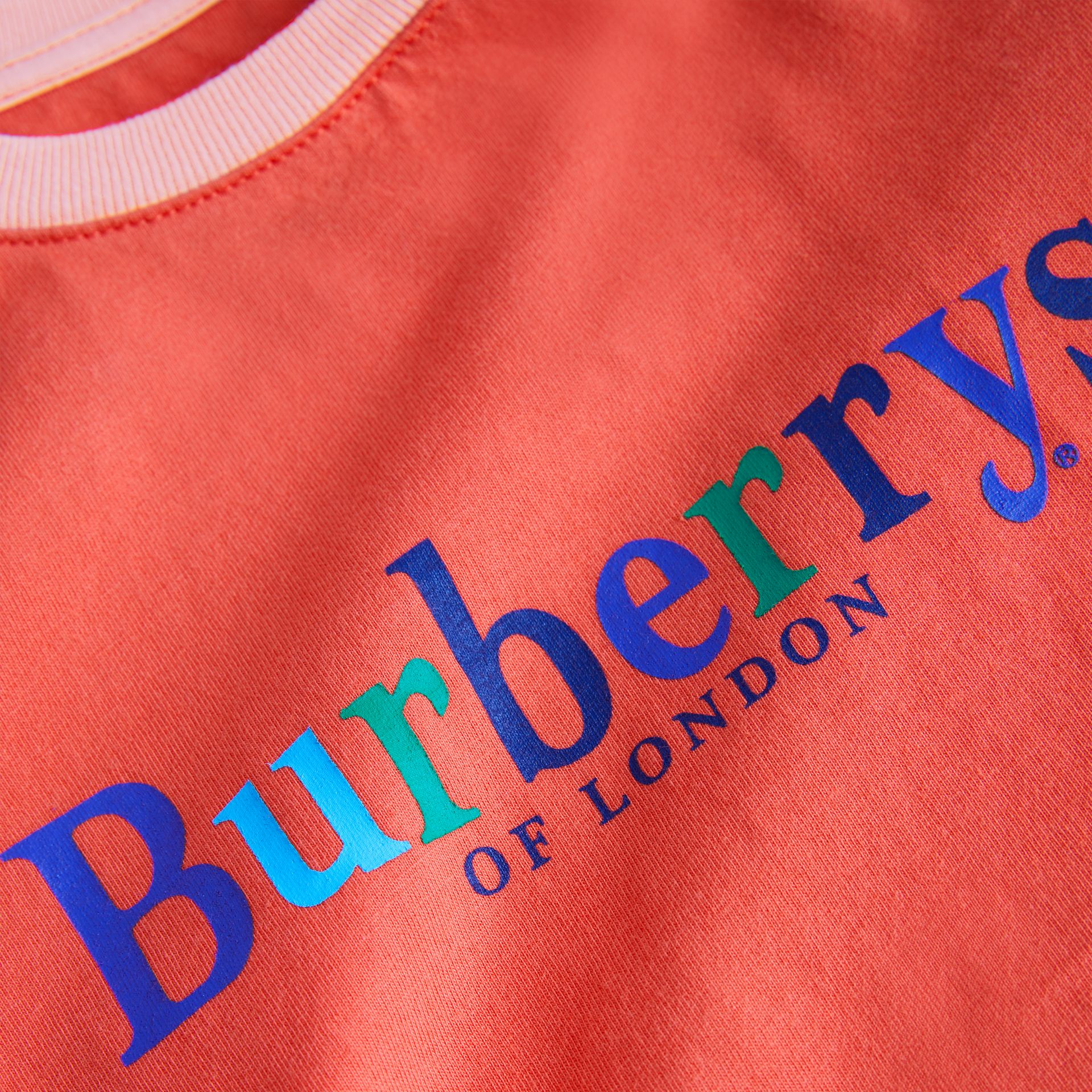 Archive Logo Print Two-tone Cotton Top in Military Red - Children | Burberry Singapore - gallery image 1