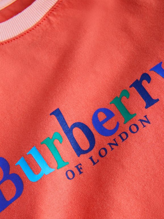 Archive Logo Print Two-tone Cotton Top in Military Red - Children | Burberry - cell image 1