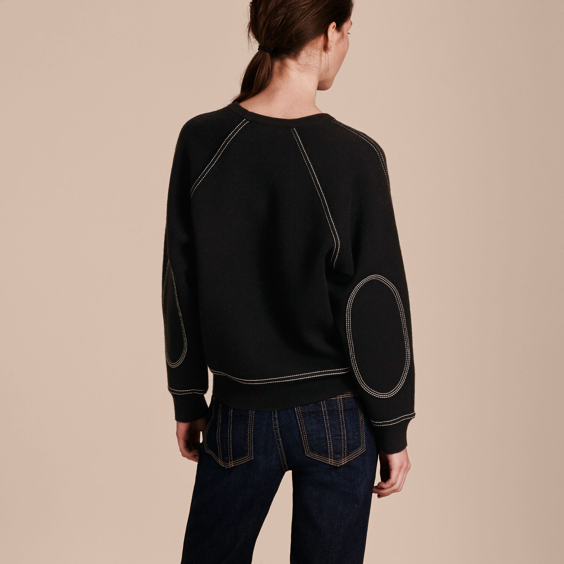 Topstitch Detail Wool Cashmere Blend Sweater in Black - Women | Burberry Australia - gallery image 3