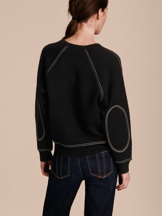 Topstitch Detail Wool Cashmere Blend Sweater in Black - Women | Burberry Australia - cell image 2