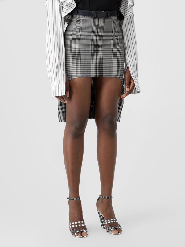 Check Technical Wool Step-through Skirt in Black - Women | Burberry - cell image 3