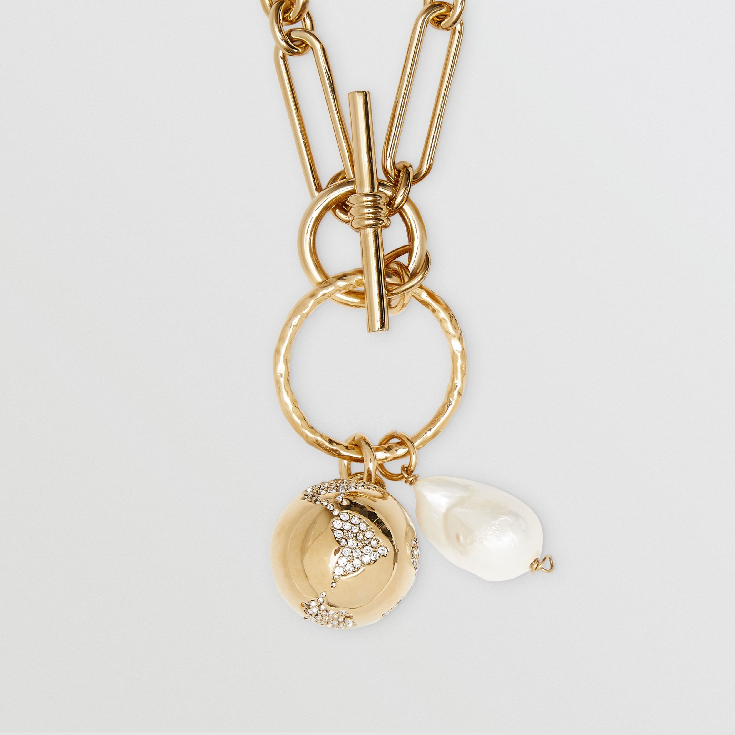 Resin Pearl Gold-plated Chain-link Necklace in Light | Burberry - 2