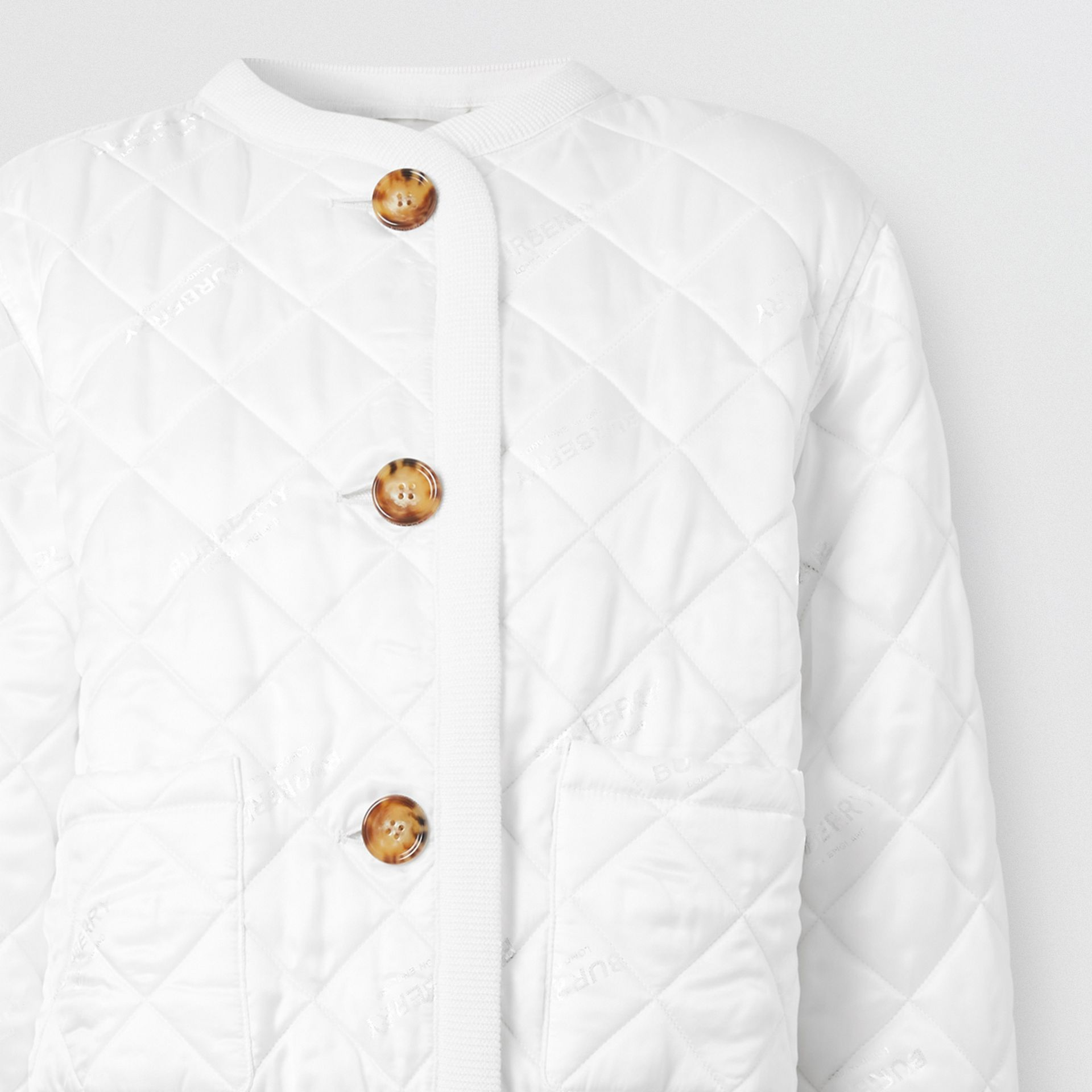 Logo Jacquard Diamond Quilted and Wool Blend Jacket in White - Women | Burberry - gallery image 6