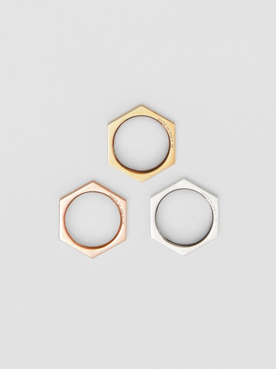 Rose Gold, Palladium and Gold-plated Nut Rings in Light