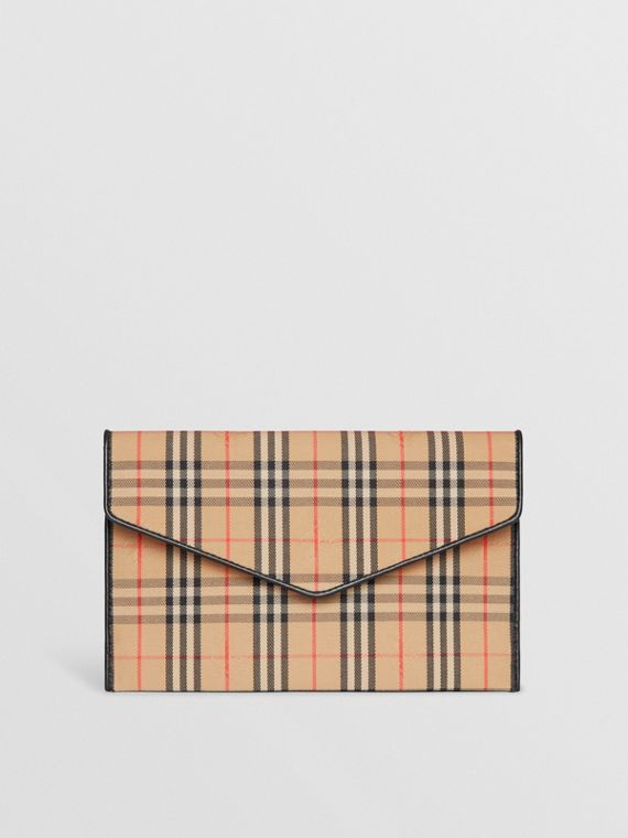 Medium 1983 Check and Leather Envelope Pouch in Black