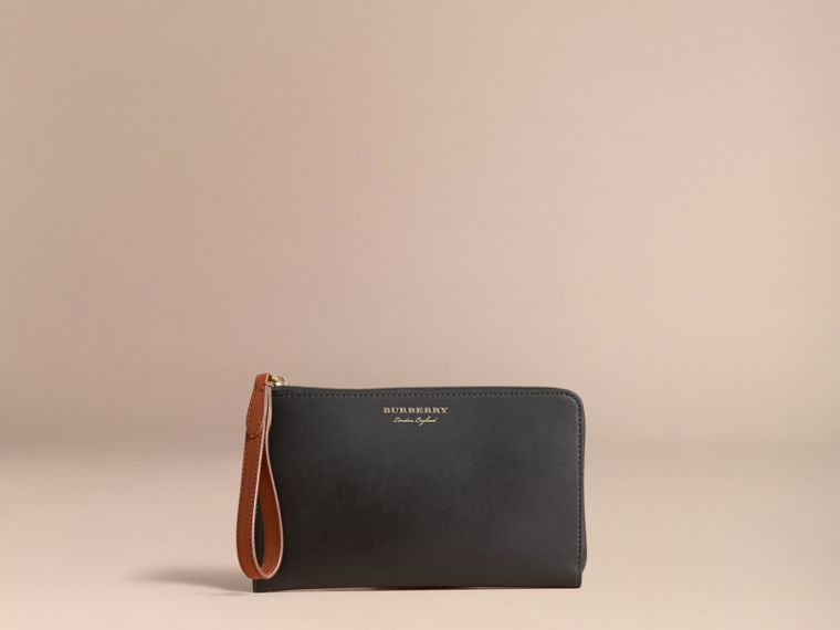 Two-tone Trench Leather Travel Wallet Black - cell image 4