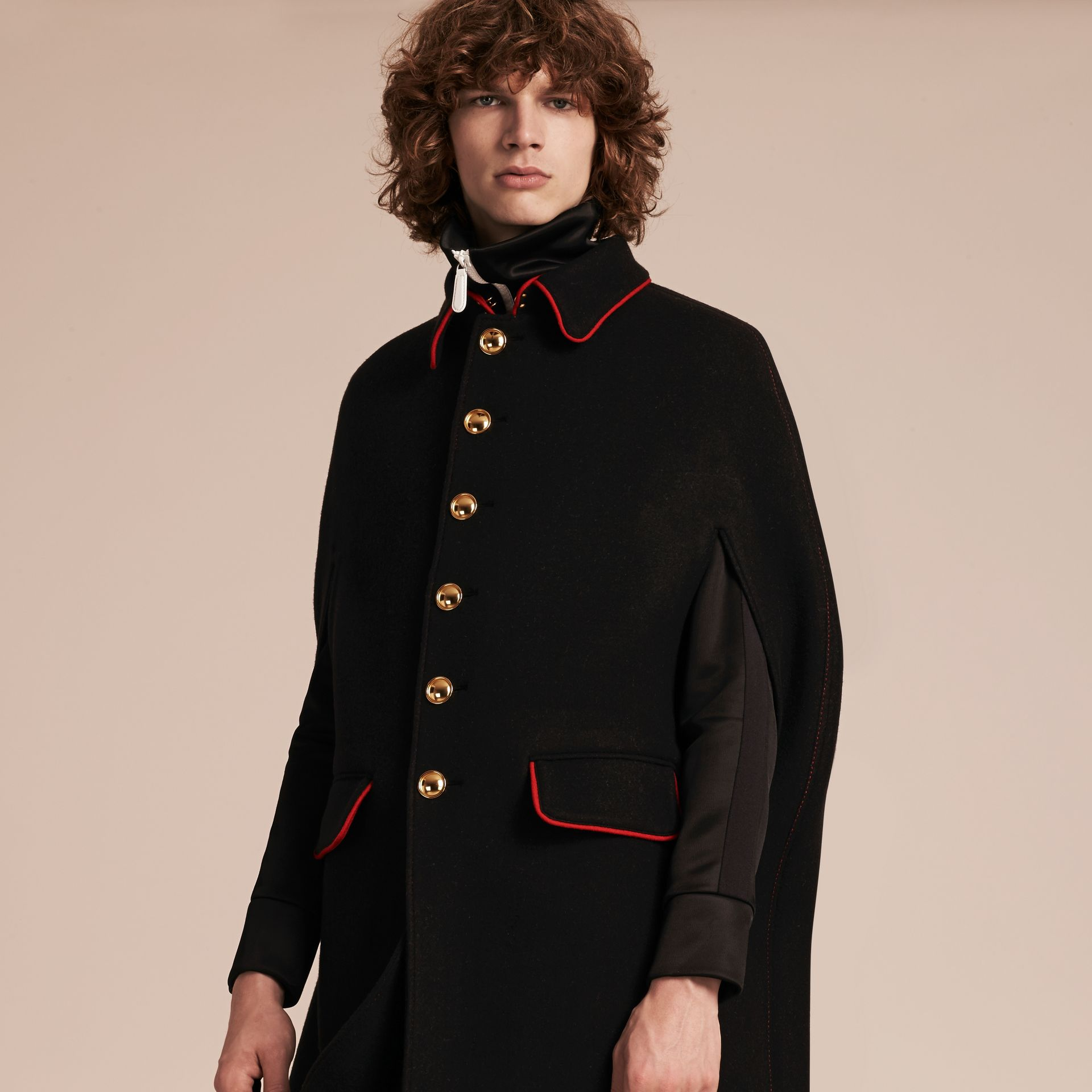 Black Wool Cashmere Blend Military Cape Coat - gallery image 7