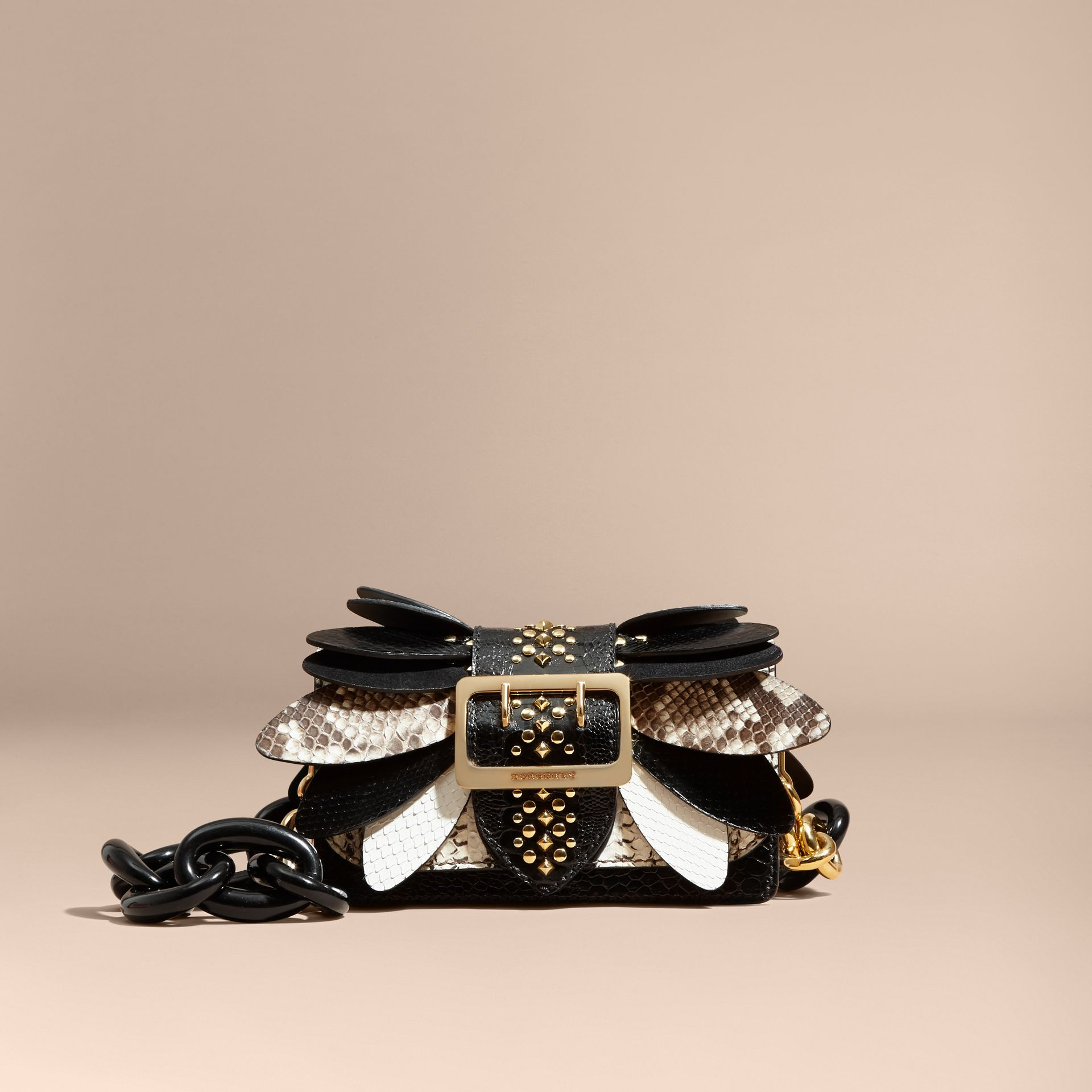 The Small Buckle Bag in Leather and Snakeskin Appliqué - Women | Burberry - gallery image 9