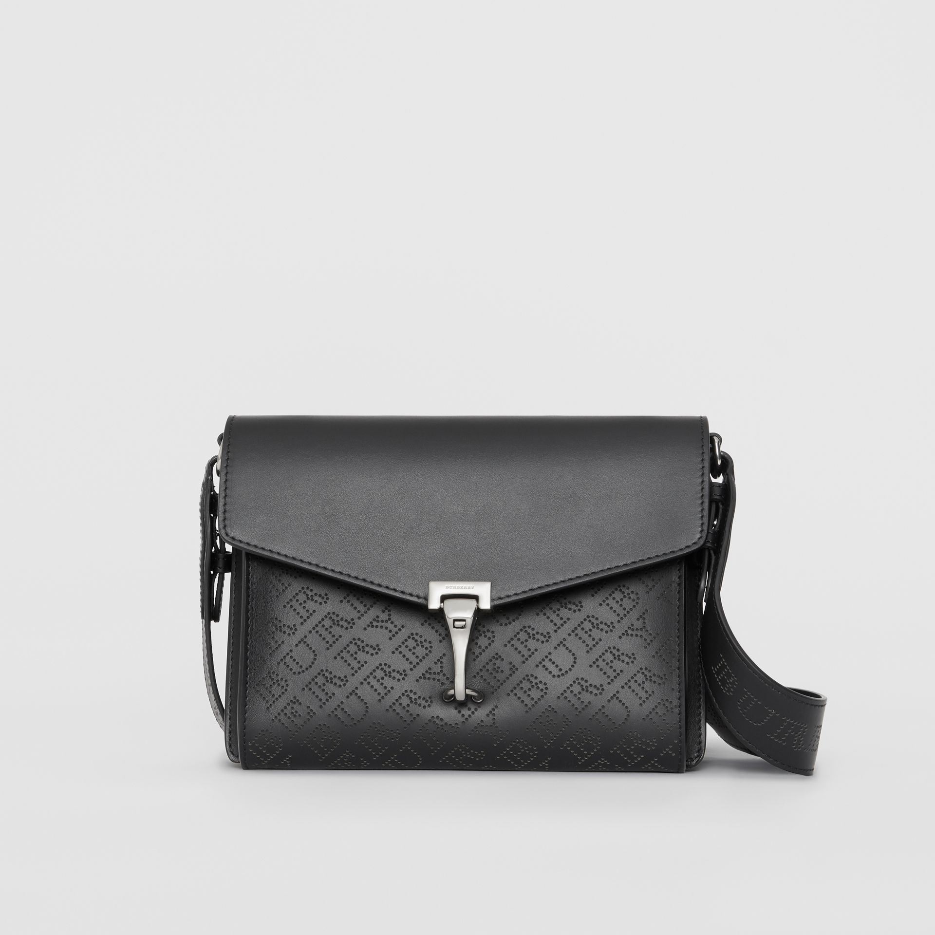 Small Perforated Logo Leather Crossbody Bag in Black - Women | Burberry - gallery image 0