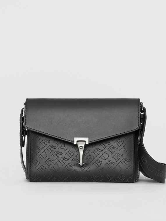 Small Perforated Logo Leather Crossbody Bag in Black