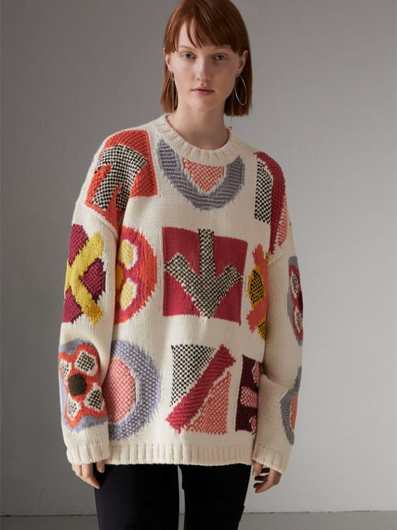Motif Intarsia Wool Cashmere Blend Sweater in Natural White