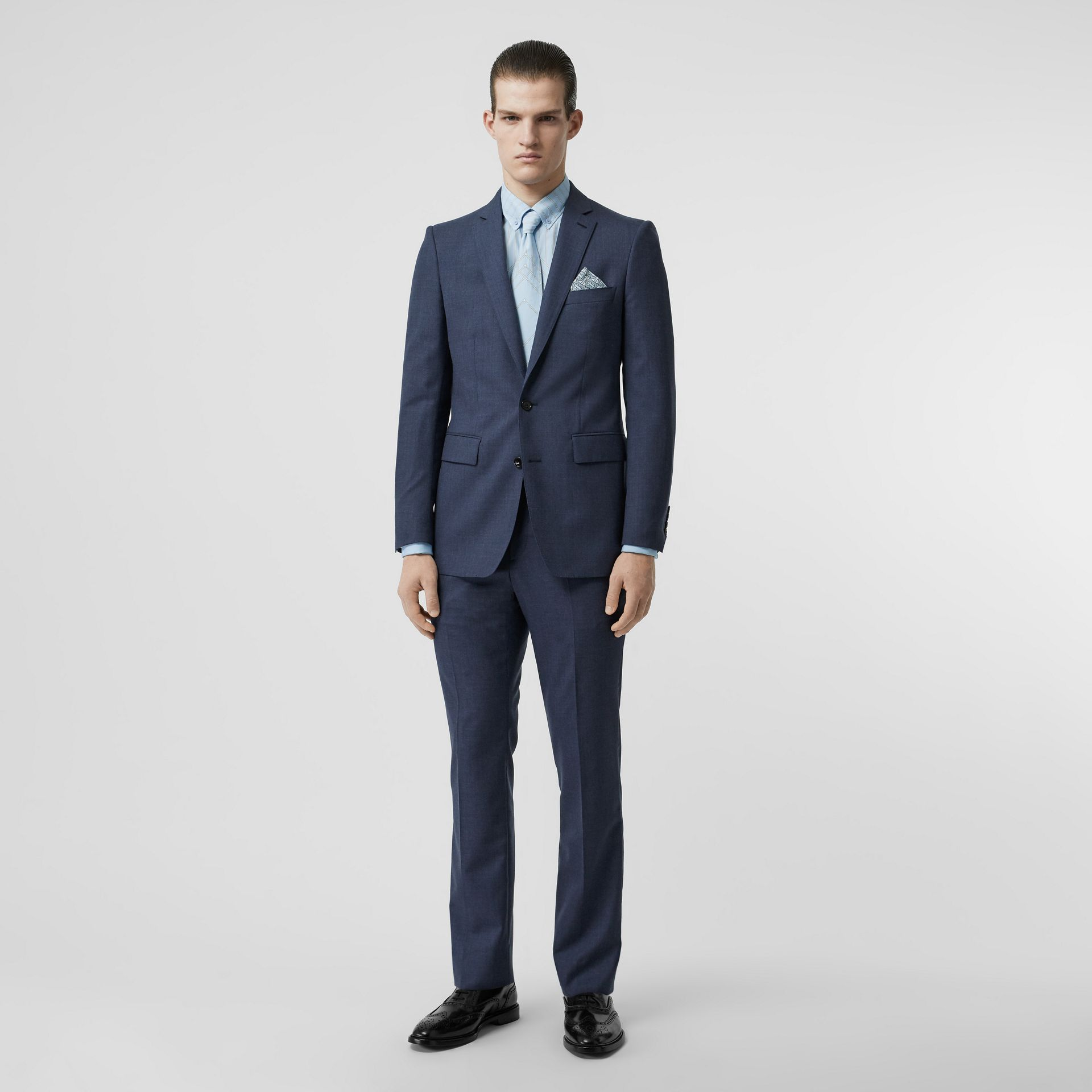 Classic Fit Wool Tailored Jacket in Steel Blue Melange - Men | Burberry United Kingdom - gallery image 0