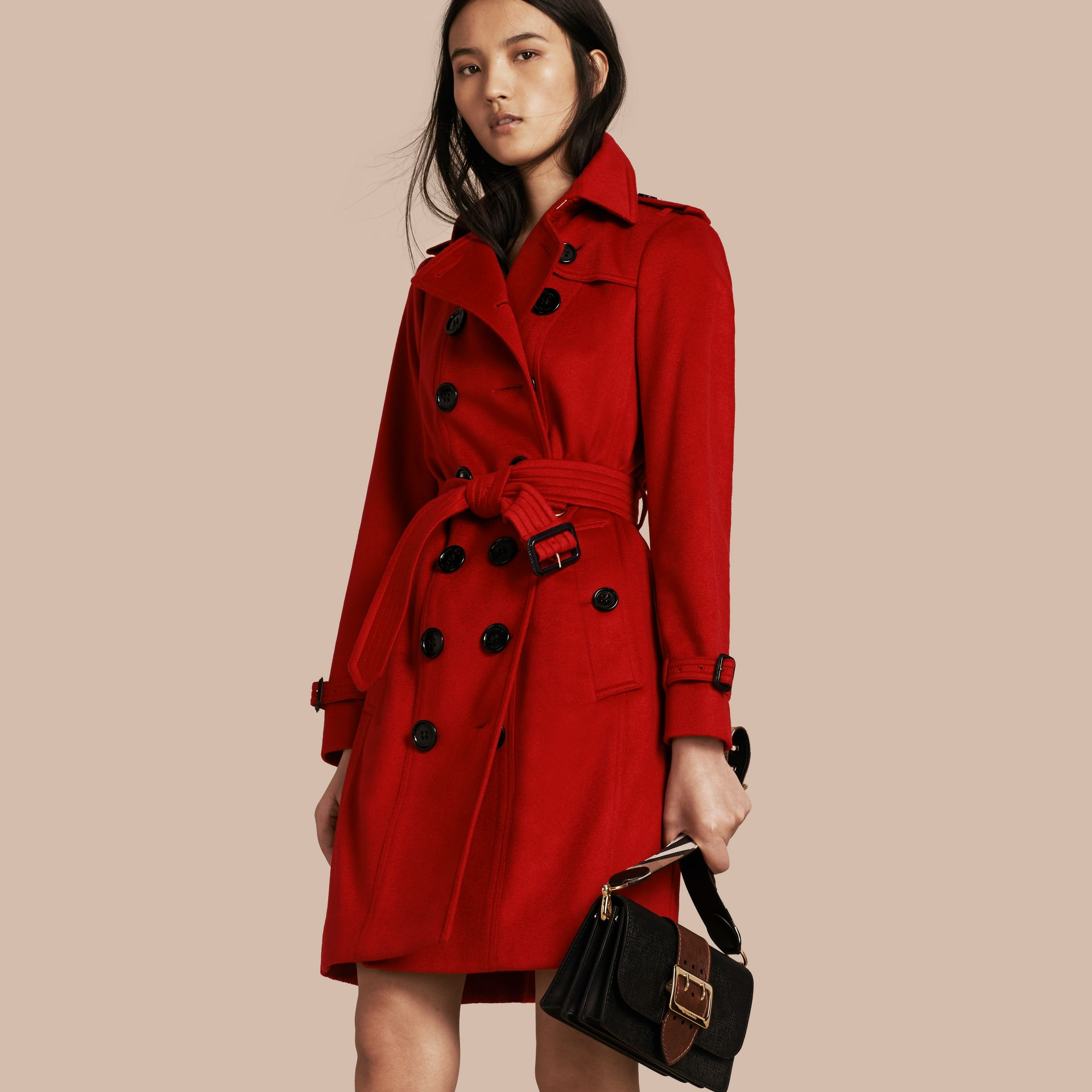 Sandringham Fit Cashmere Trench Coat Parade Red - gallery image 1