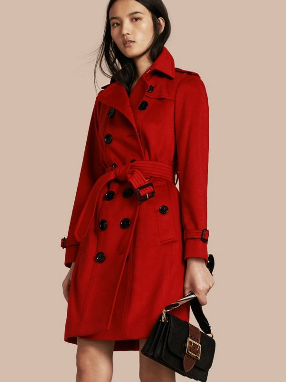 Sandringham Fit Cashmere Trench Coat Parade Red