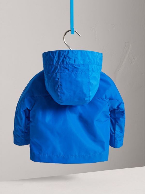 Shape Memory Taffeta Hooded Jacket in Azure Blue | Burberry - cell image 3