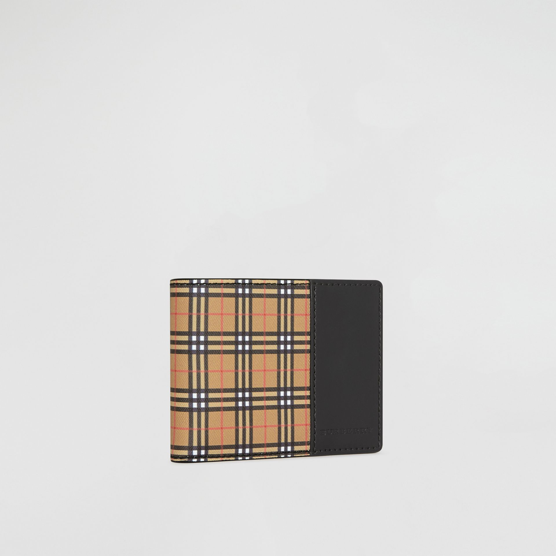 Small Scale Check and Leather Bifold Wallet in Antique Yellow/black - Men | Burberry Singapore - gallery image 4