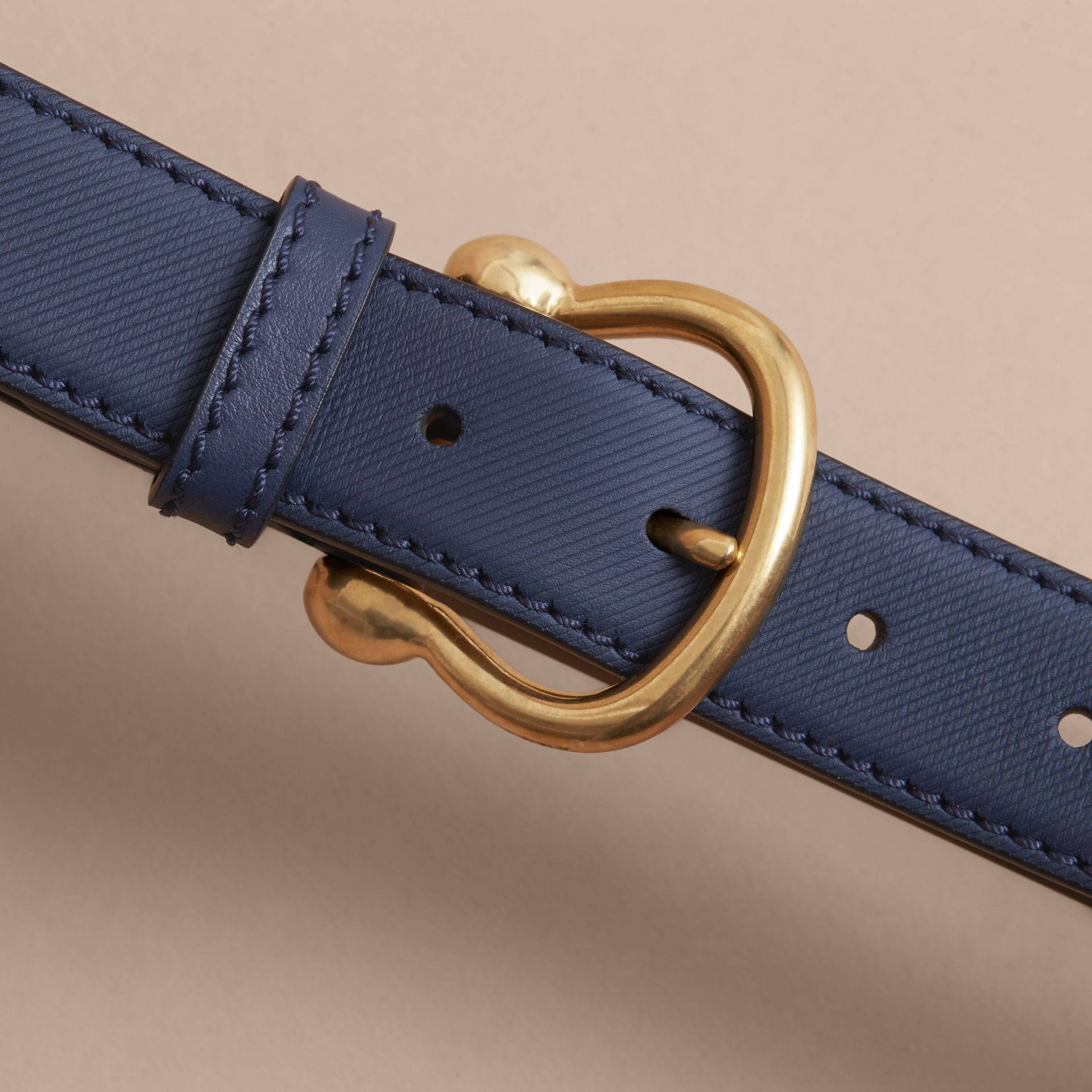Trench Leather Belt in Ink Blue - Women | Burberry - gallery image 2