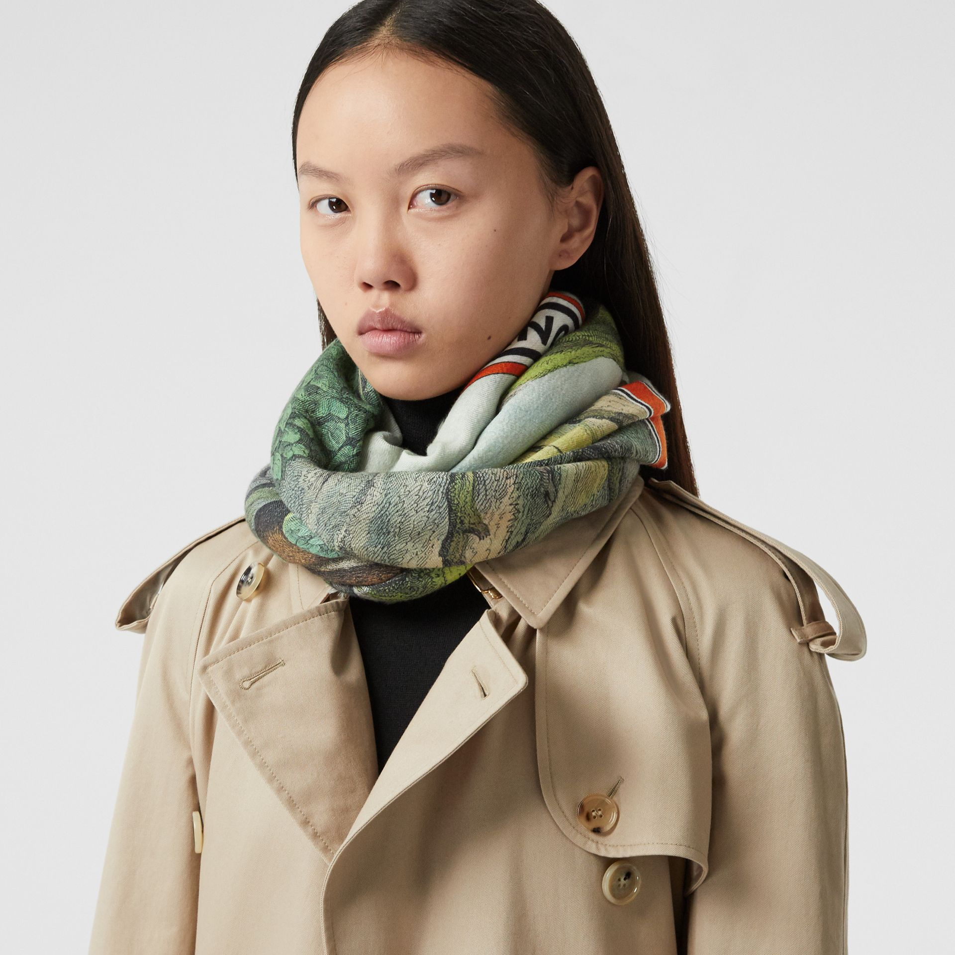 Monkey Print Lightweight Cashmere Scarf in Opal Green | Burberry - gallery image 2