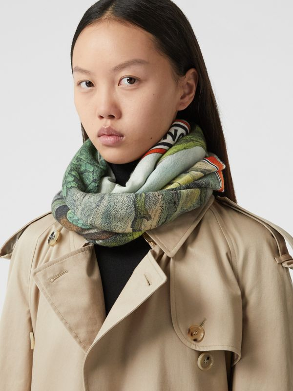 Monkey Print Lightweight Cashmere Scarf in Opal Green | Burberry Australia - cell image 2