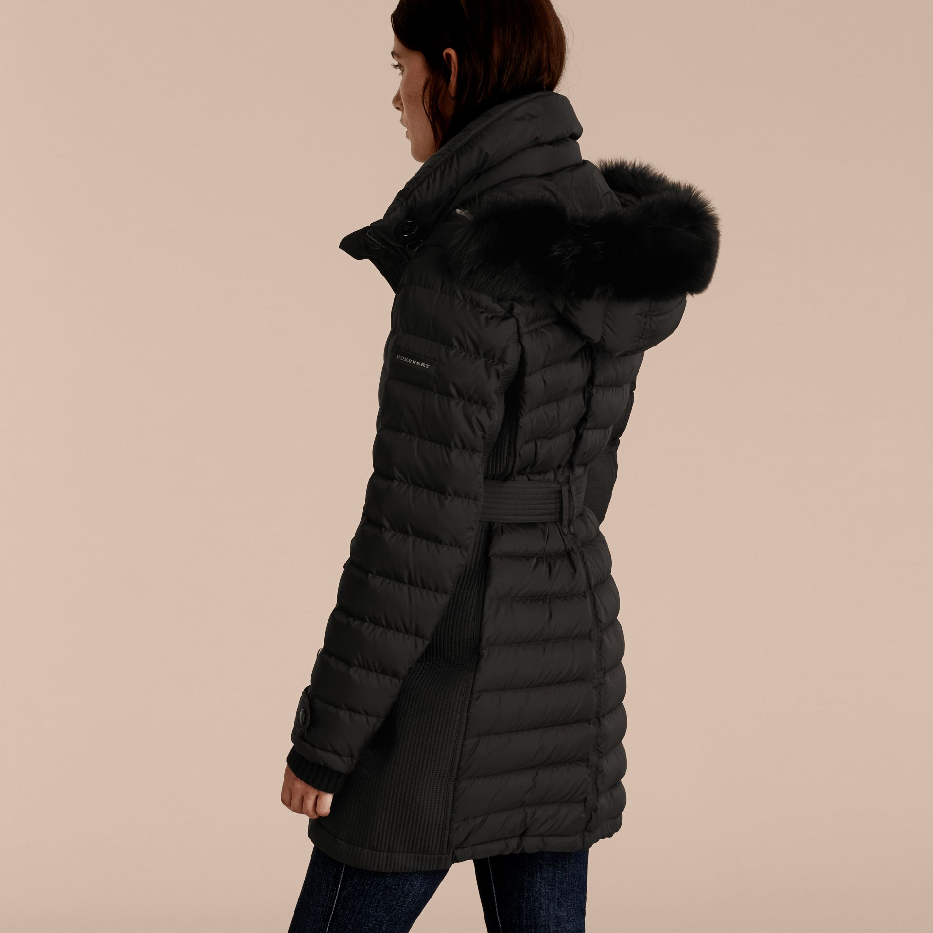 Black Down-filled Parka with Fur Trim Black - gallery image 2