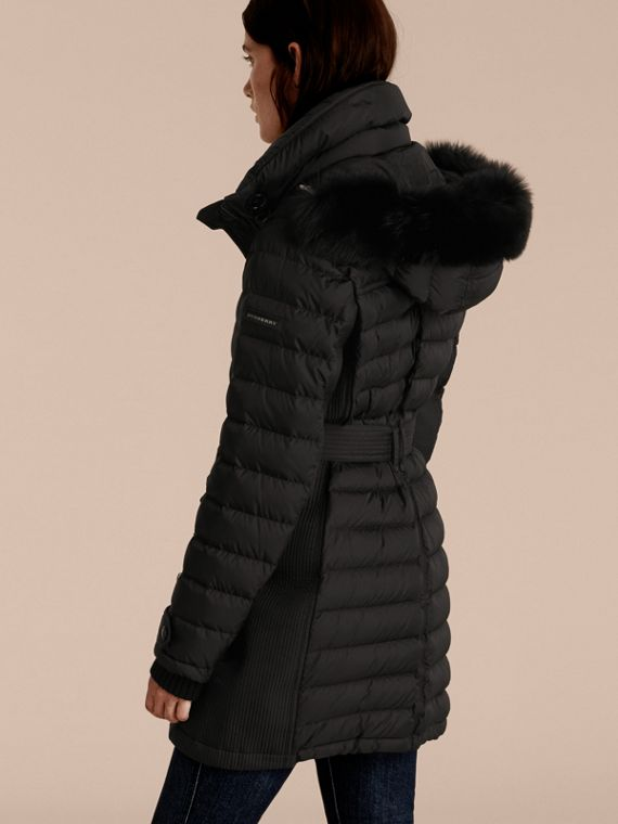 Black Down-filled Parka with Detachable Fox Fur Trim Black - cell image 2