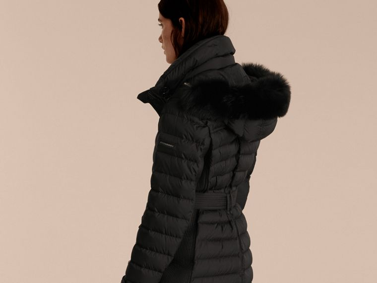 Black Down-filled Parka with Fur Trim Black - cell image 1