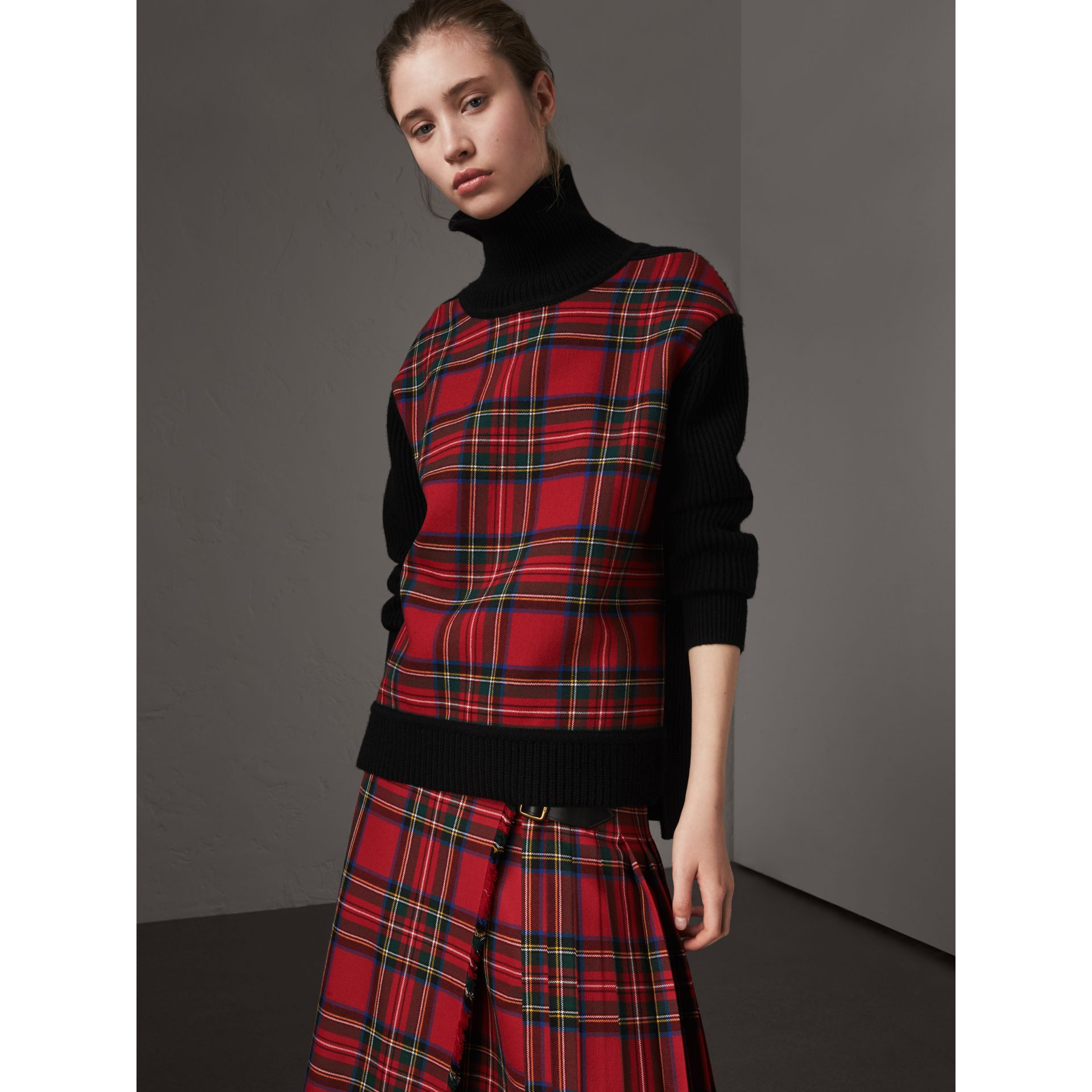 Tartan Panel Wool Cashmere Roll-neck Sweater in Red/navy - Women | Burberry United Kingdom - gallery image 0