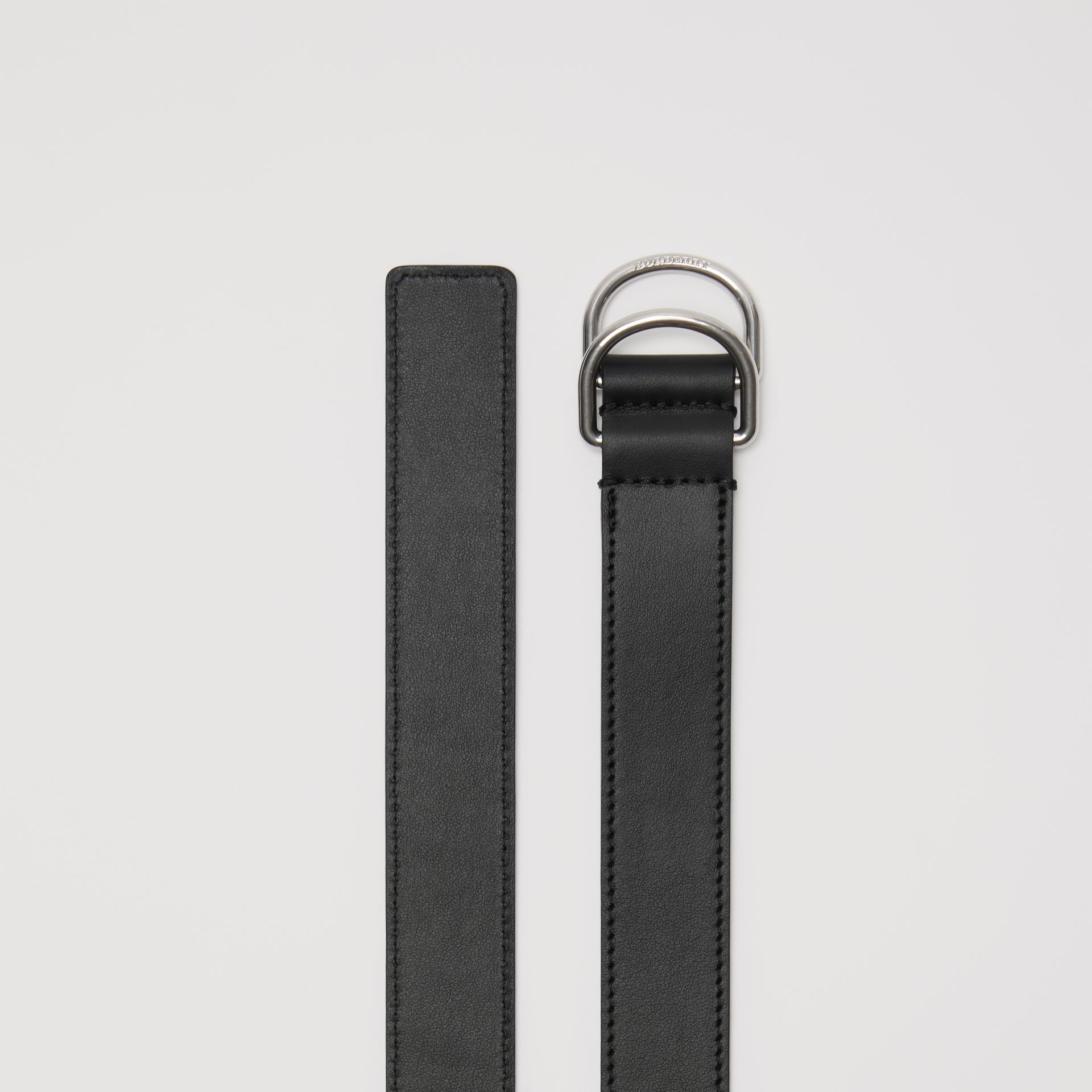 Leather Double D-ring Belt in Black - Men | Burberry - gallery image 4