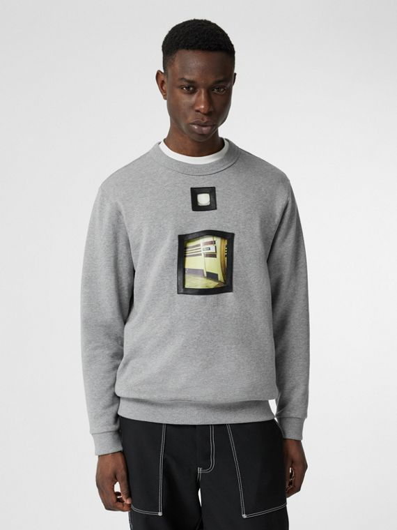 Cut-out Detail Cotton Sweatshirt in Pale Grey Melange