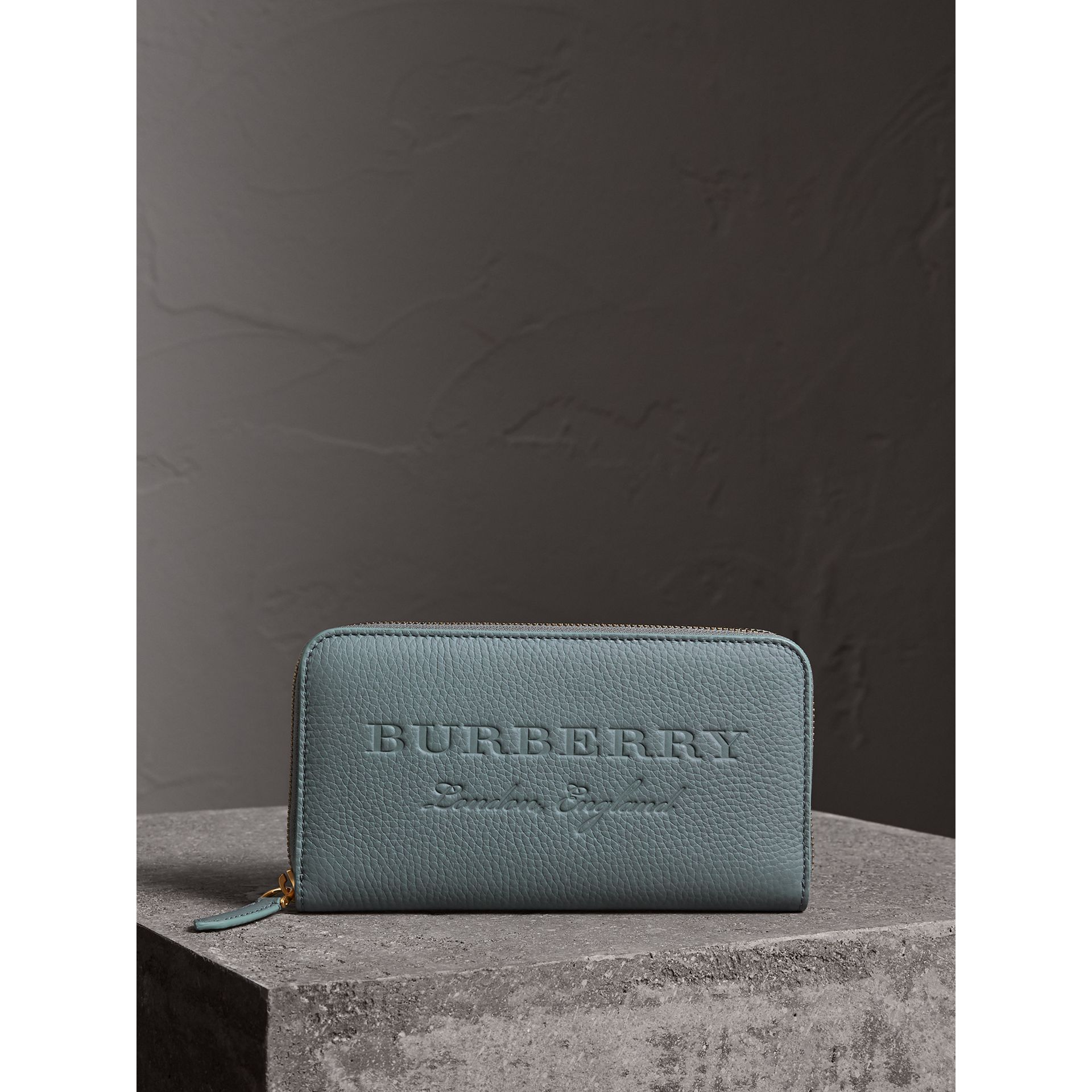 Embossed Leather Ziparound Wallet in Dusty Teal Blue | Burberry - gallery image 4