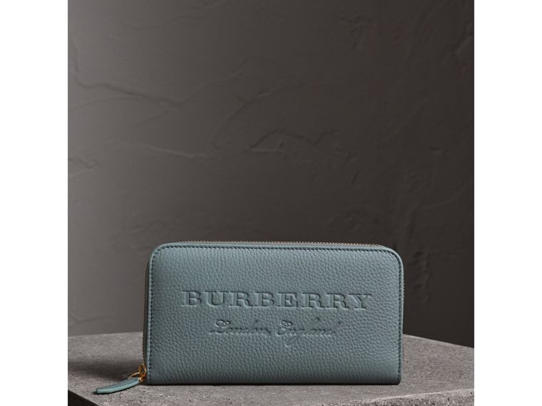 Embossed Leather Ziparound Wallet in Dusty Teal Blue | Burberry - cell image 4