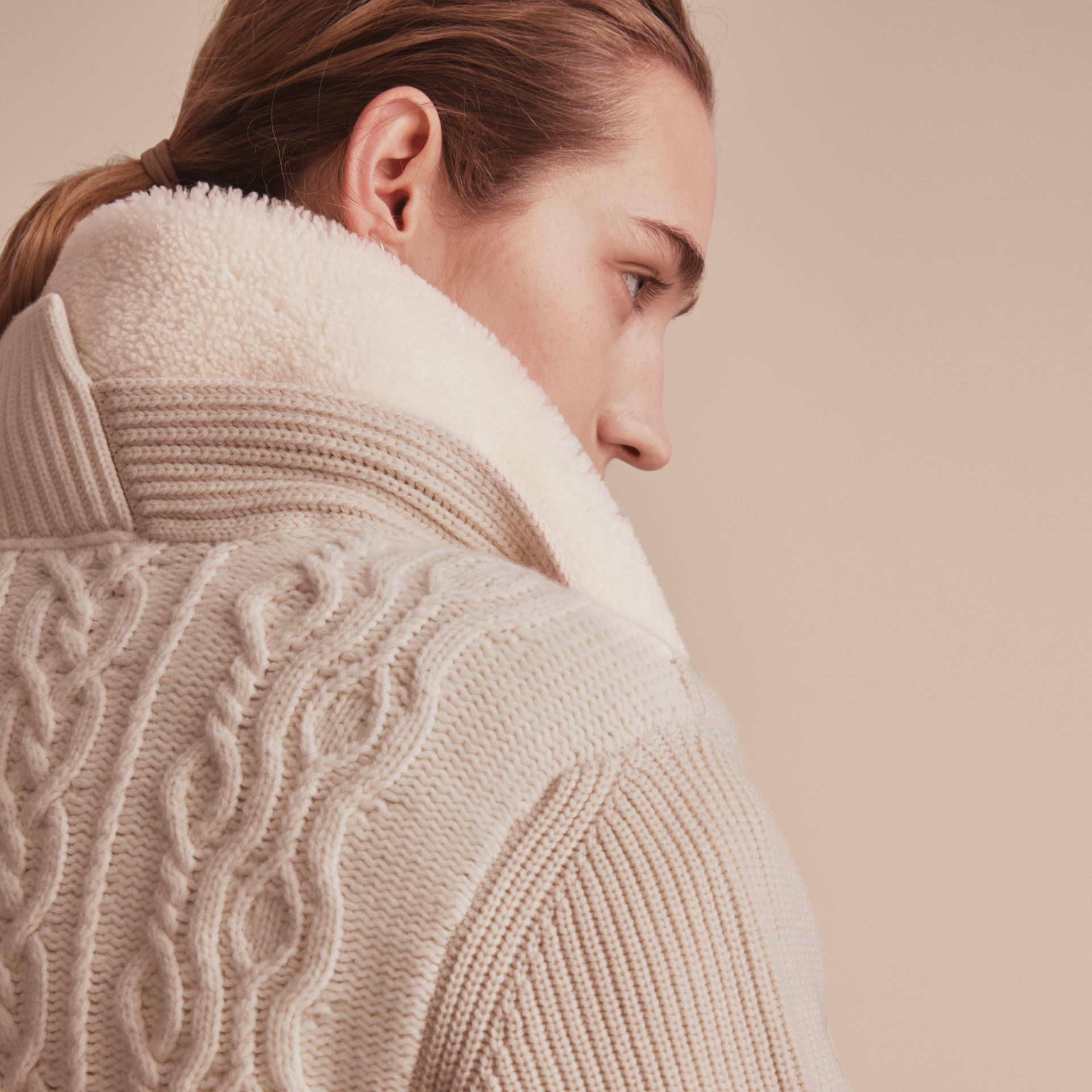 Shearling Collar Knitted Wool Cashmere Jacket in Natural White - Women | Burberry Canada - gallery image 5