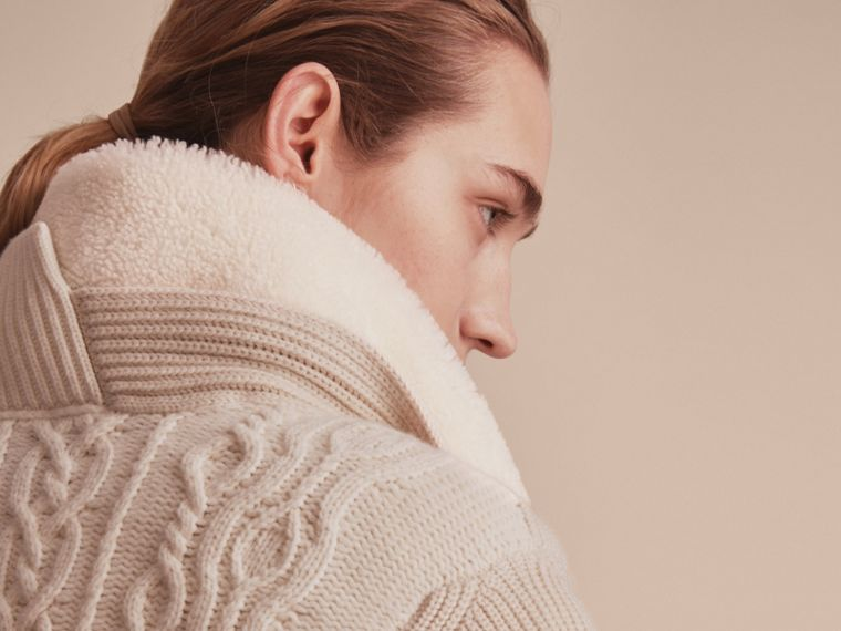 Shearling Collar Knitted Wool Cashmere Jacket in Natural White - Women | Burberry - cell image 4