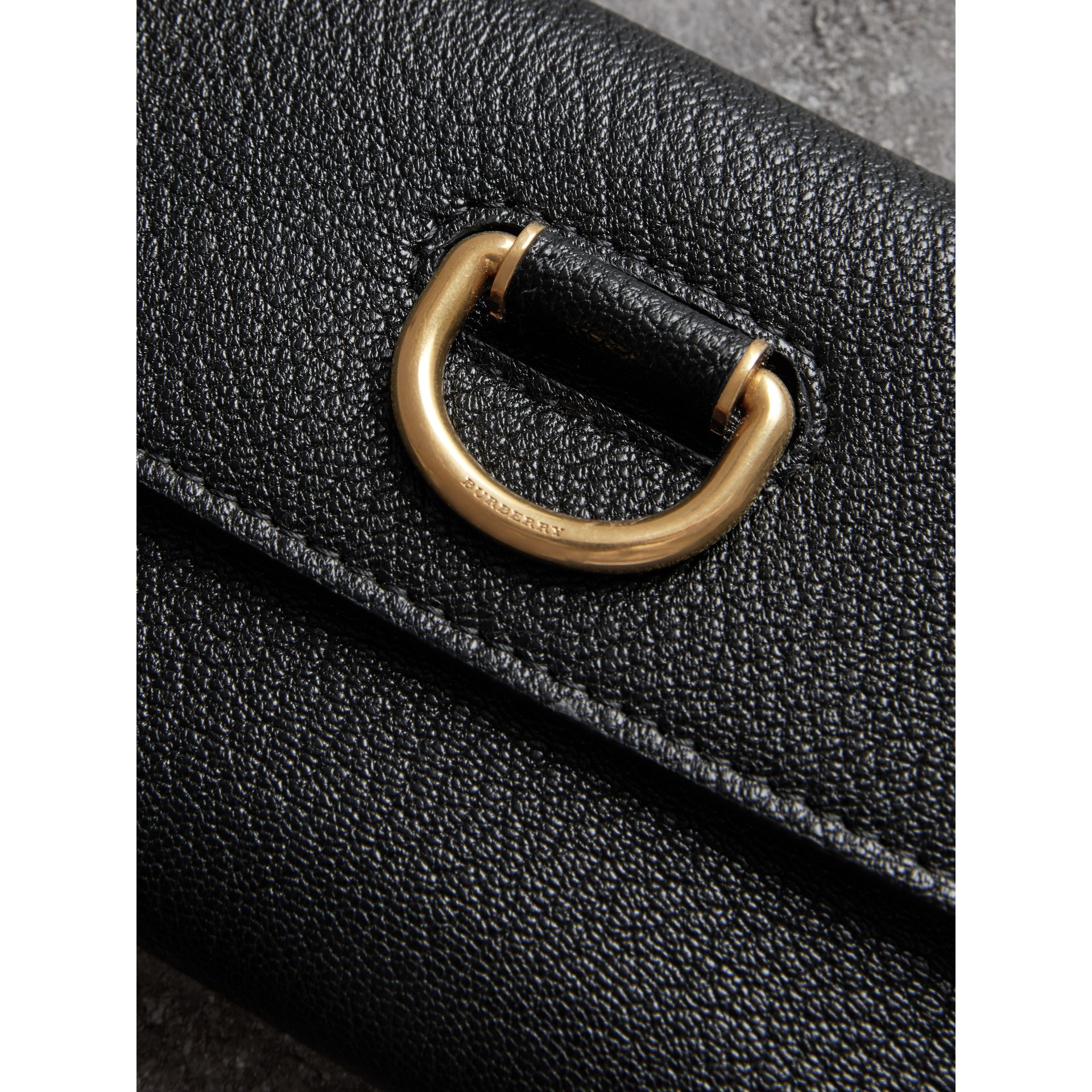 D-ring Grainy Leather Continental Wallet in Black - Women | Burberry United Kingdom - gallery image 1