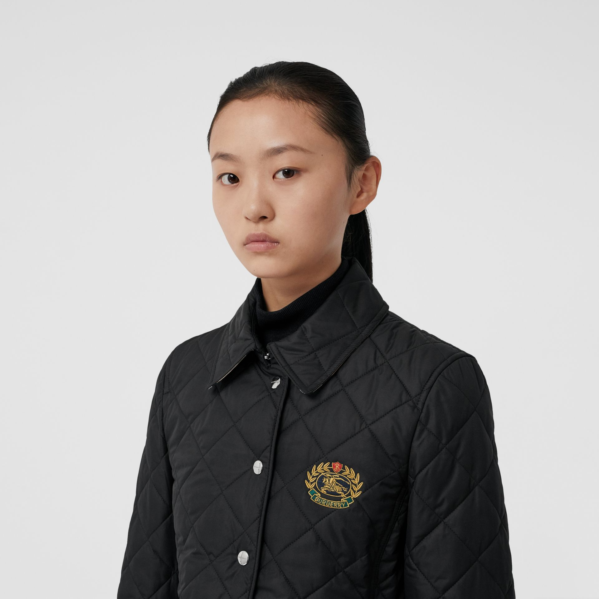 Embroidered Crest Diamond Quilted Jacket in Black - Women | Burberry United States - gallery image 5