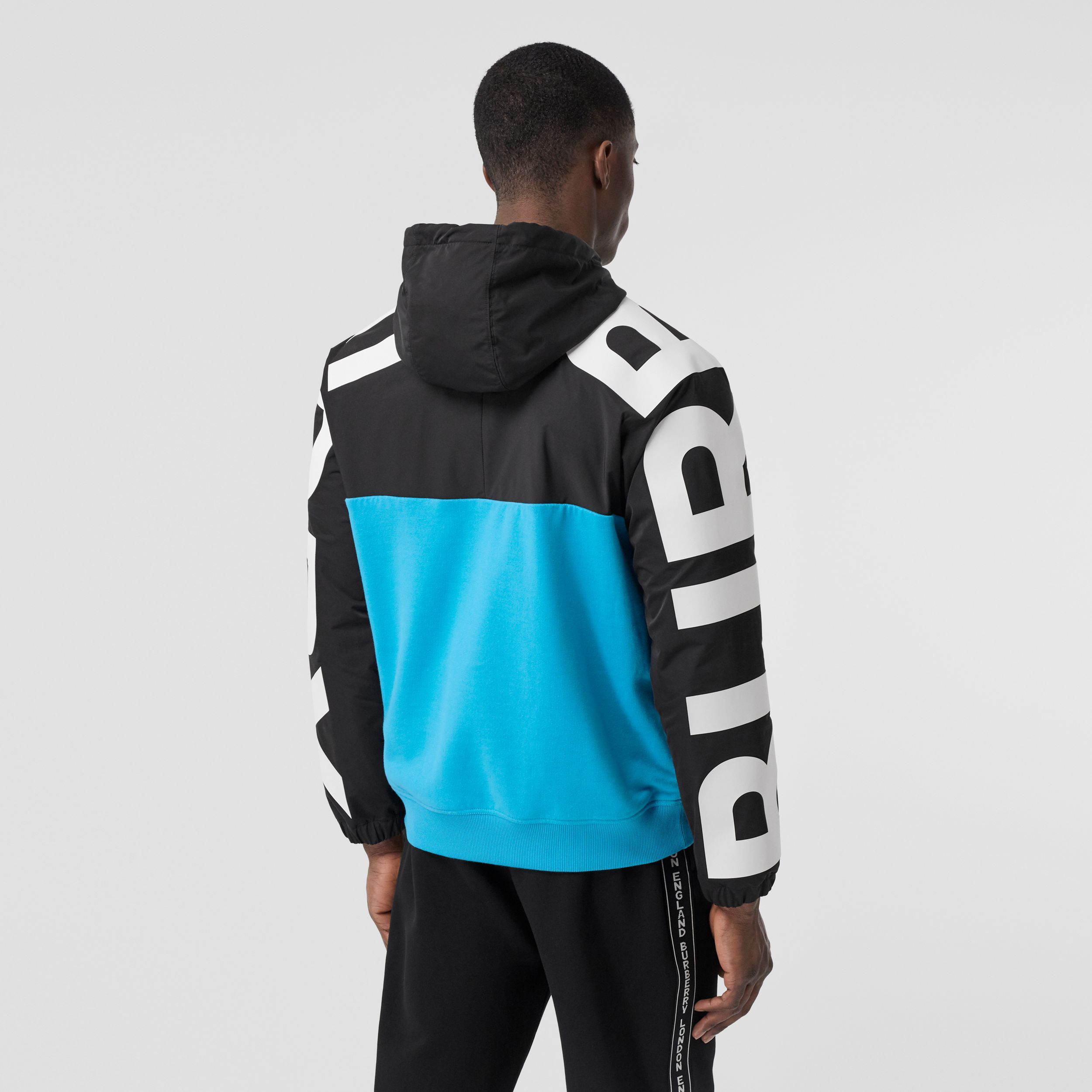 Logo Print Panel Cotton Hoodie in Brilliant Blue - Men | Burberry - 3