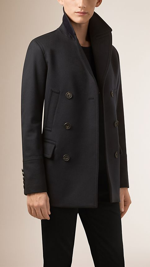 Navy Virgin Wool Cashmere Pea Coat - Image 1