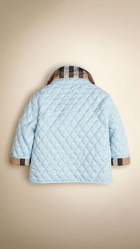 Porcelain blue Check Detail Diamond Quilted Jacket - Image 2
