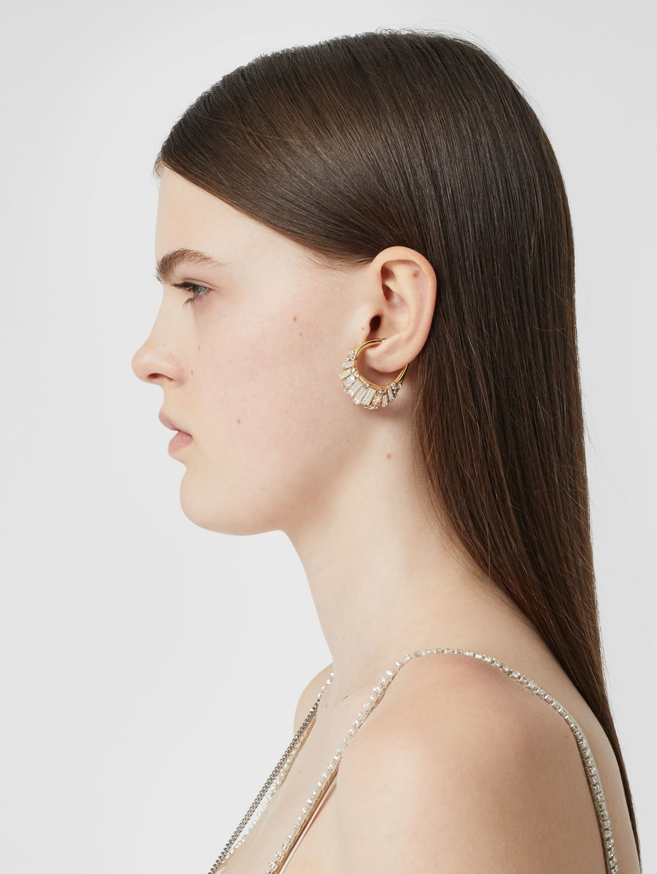 Crystal Gold-plated Ear Cuff in Light Gold/crystal