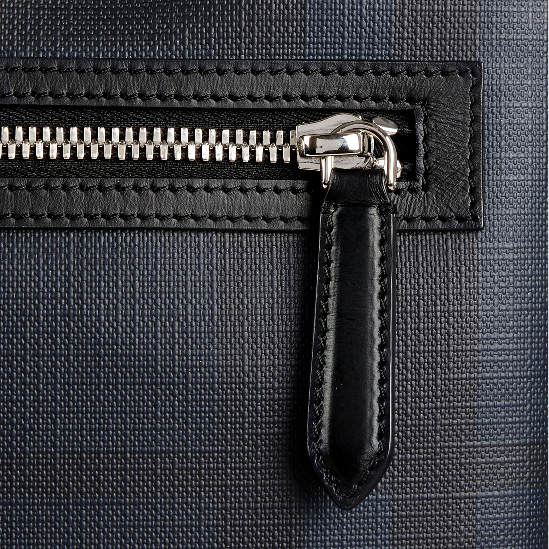 Leather Trim London Check Crossbody Bag in Navy/black - Men | Burberry Canada - gallery image 2