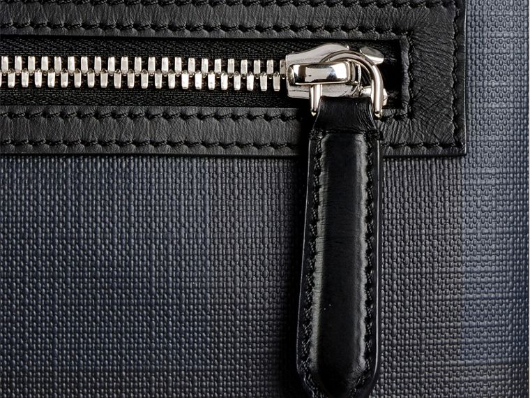 Leather Trim London Check Crossbody Bag in Navy/black - Men | Burberry Canada - cell image 1