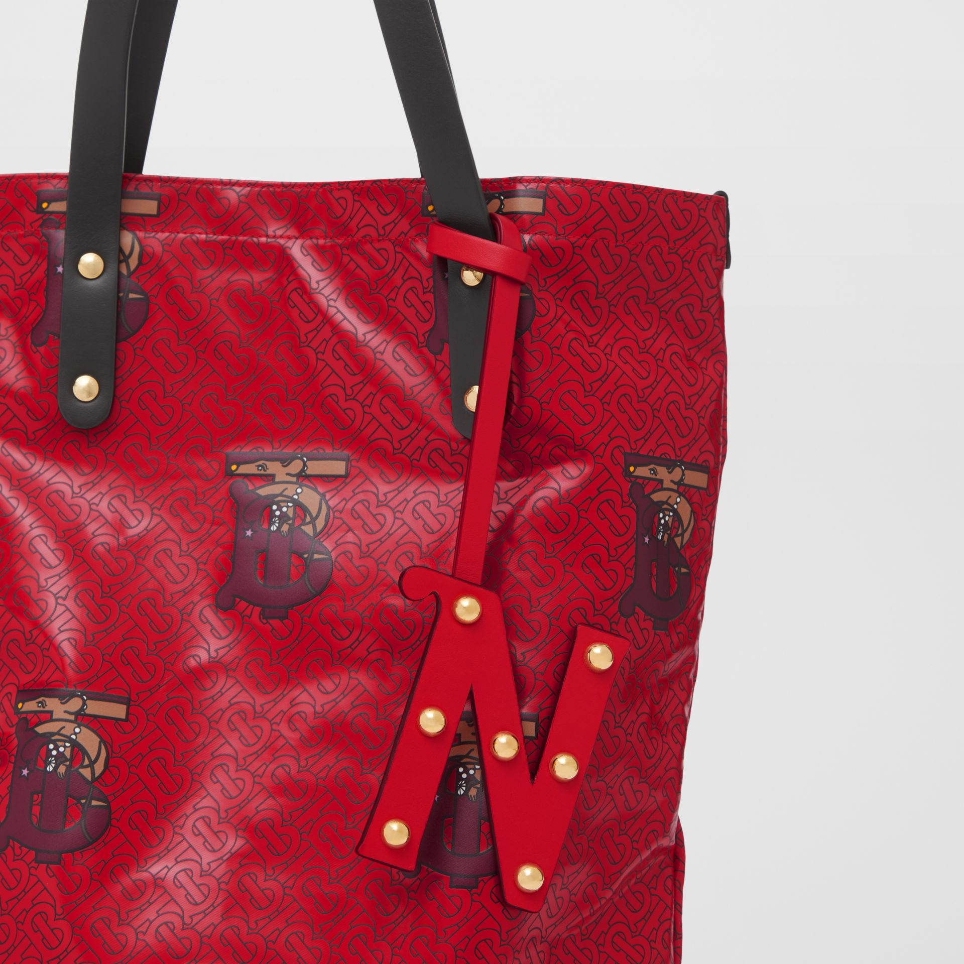 'N' Studded Leather Alphabet Charm in Red/light Gold | Burberry - gallery image 3