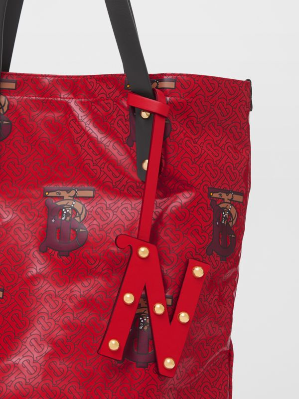 'N' Studded Leather Alphabet Charm in Red/light Gold - Women | Burberry - cell image 3
