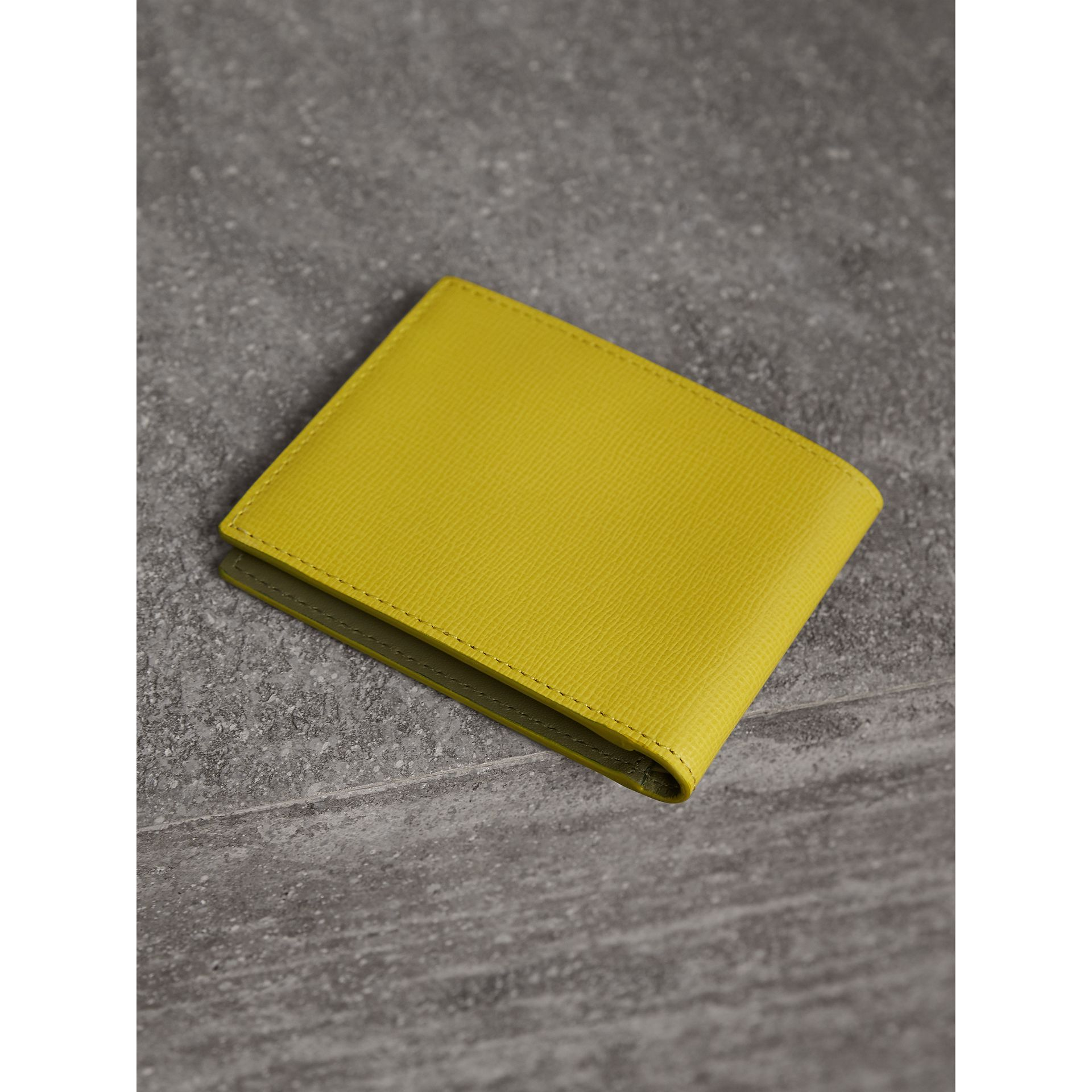 London Leather Slim Folding Wallet in Bright Citrus | Burberry Australia - gallery image 3
