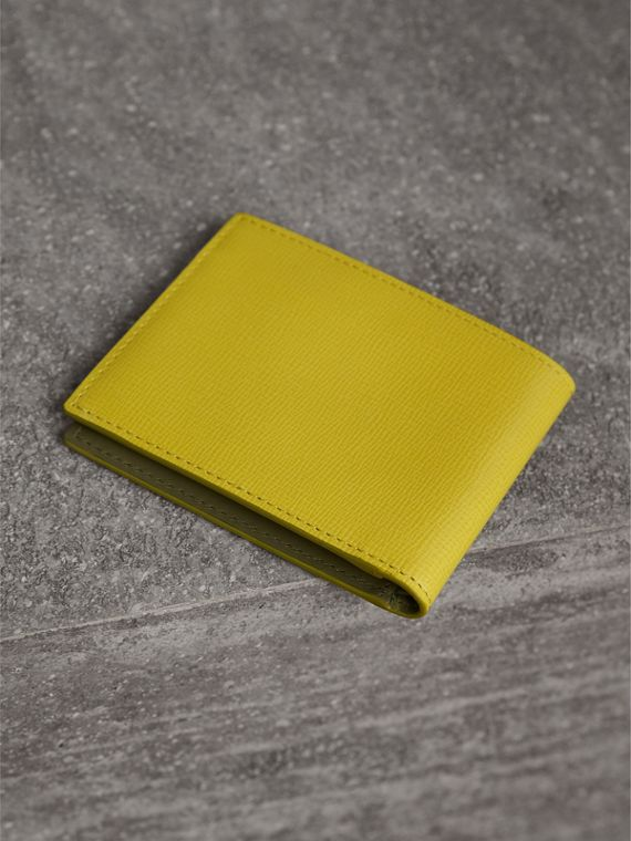London Leather Slim Folding Wallet in Bright Citrus | Burberry Australia - cell image 2