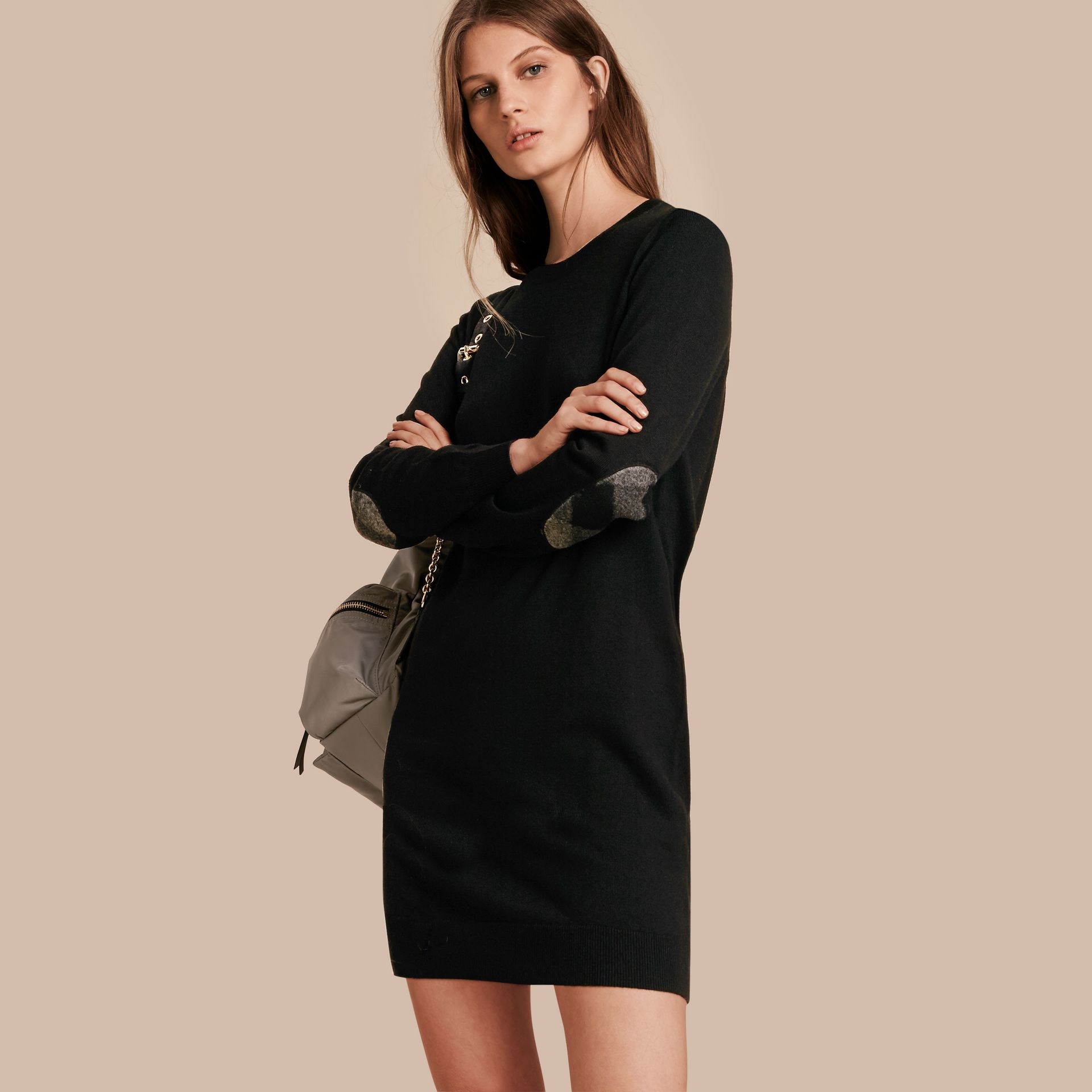 Check Elbow Detail Merino Wool Sweater Dress Black - gallery image 1