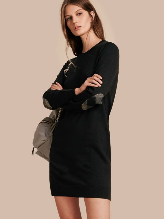 Check Elbow Detail Merino Wool Sweater Dress in Black