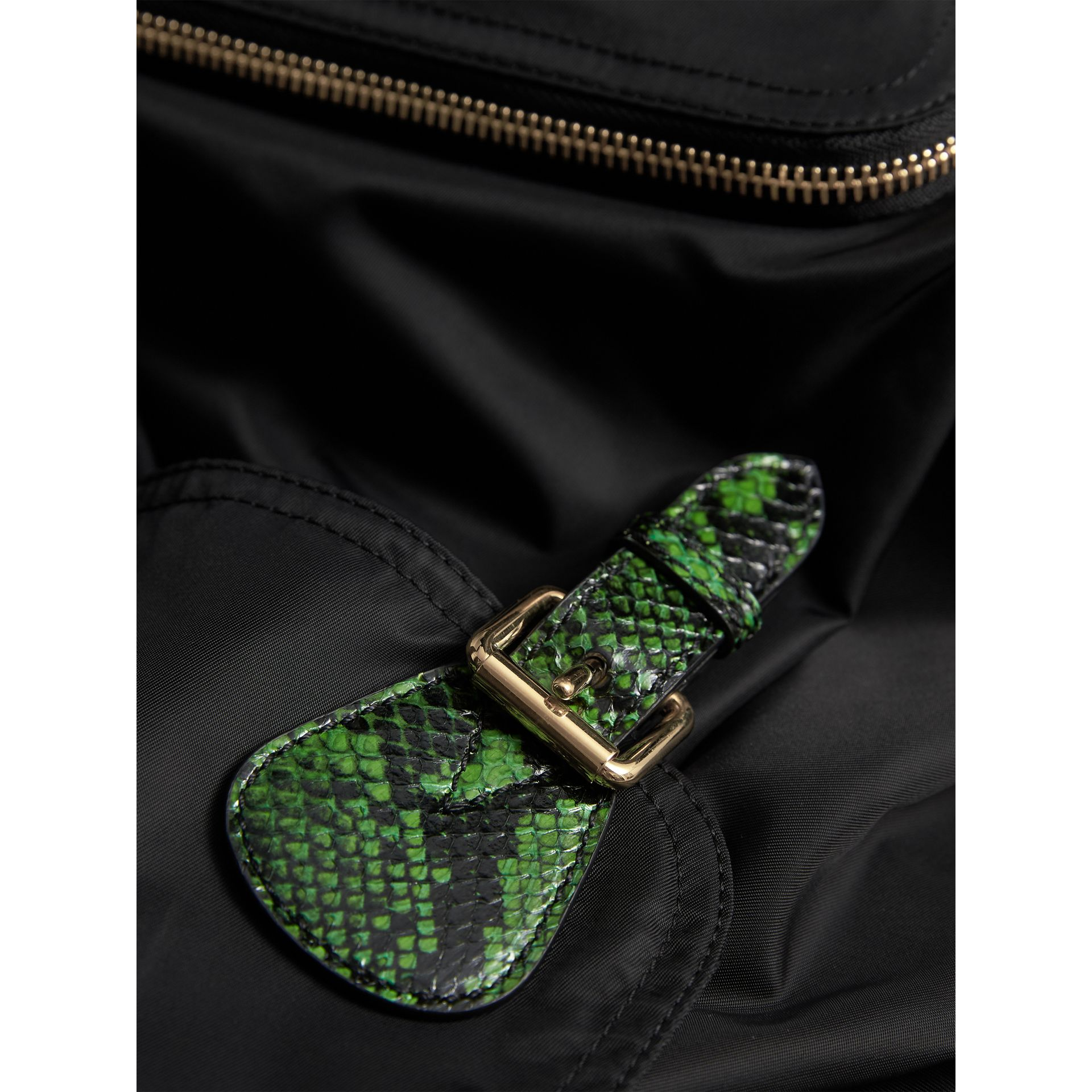 The Large Rucksack in Technical Nylon and Snakeskin in Black/bright Green - Women | Burberry - gallery image 2