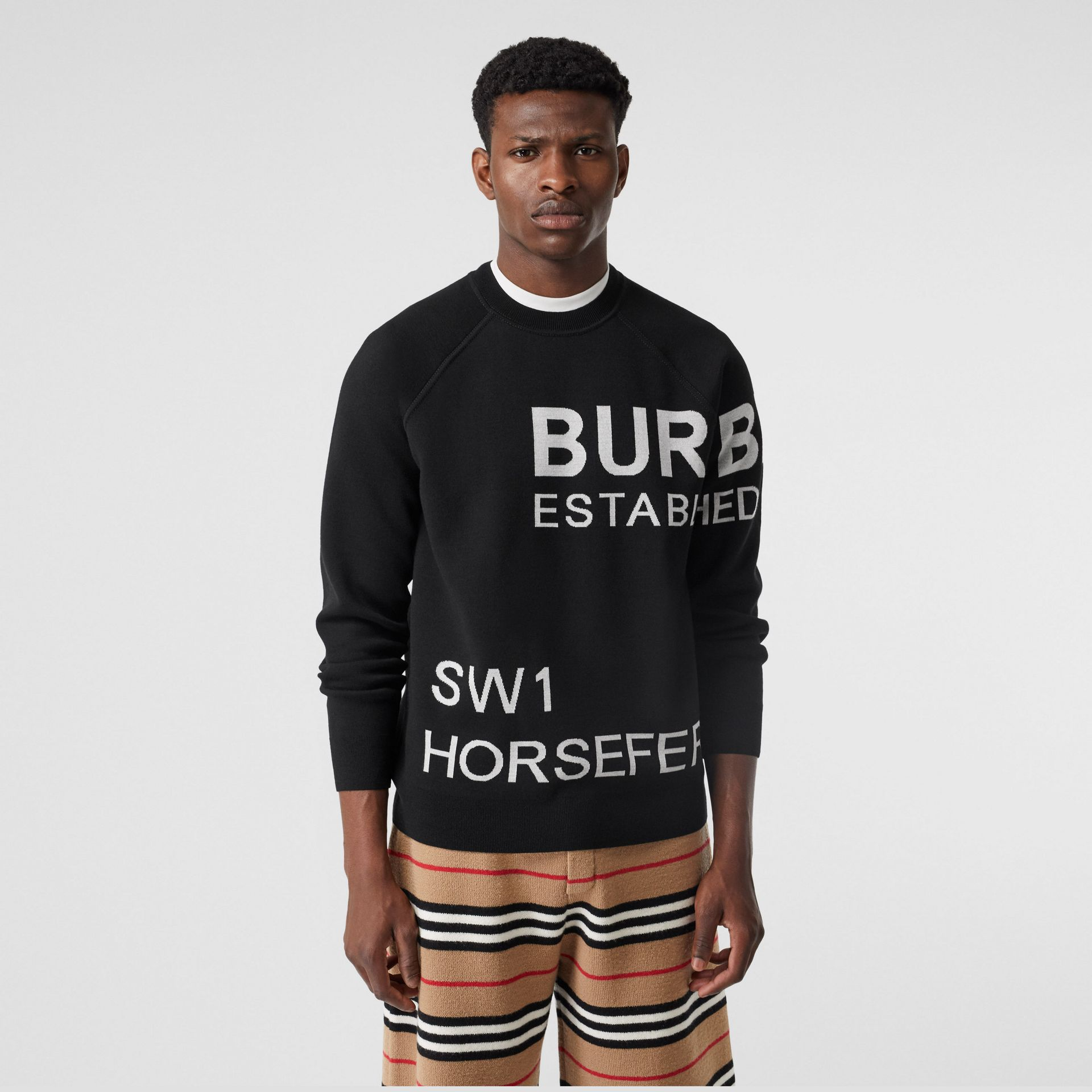 Horseferry Intarsia Merino Wool Blend Sweater in Black - Men | Burberry Canada - gallery image 4
