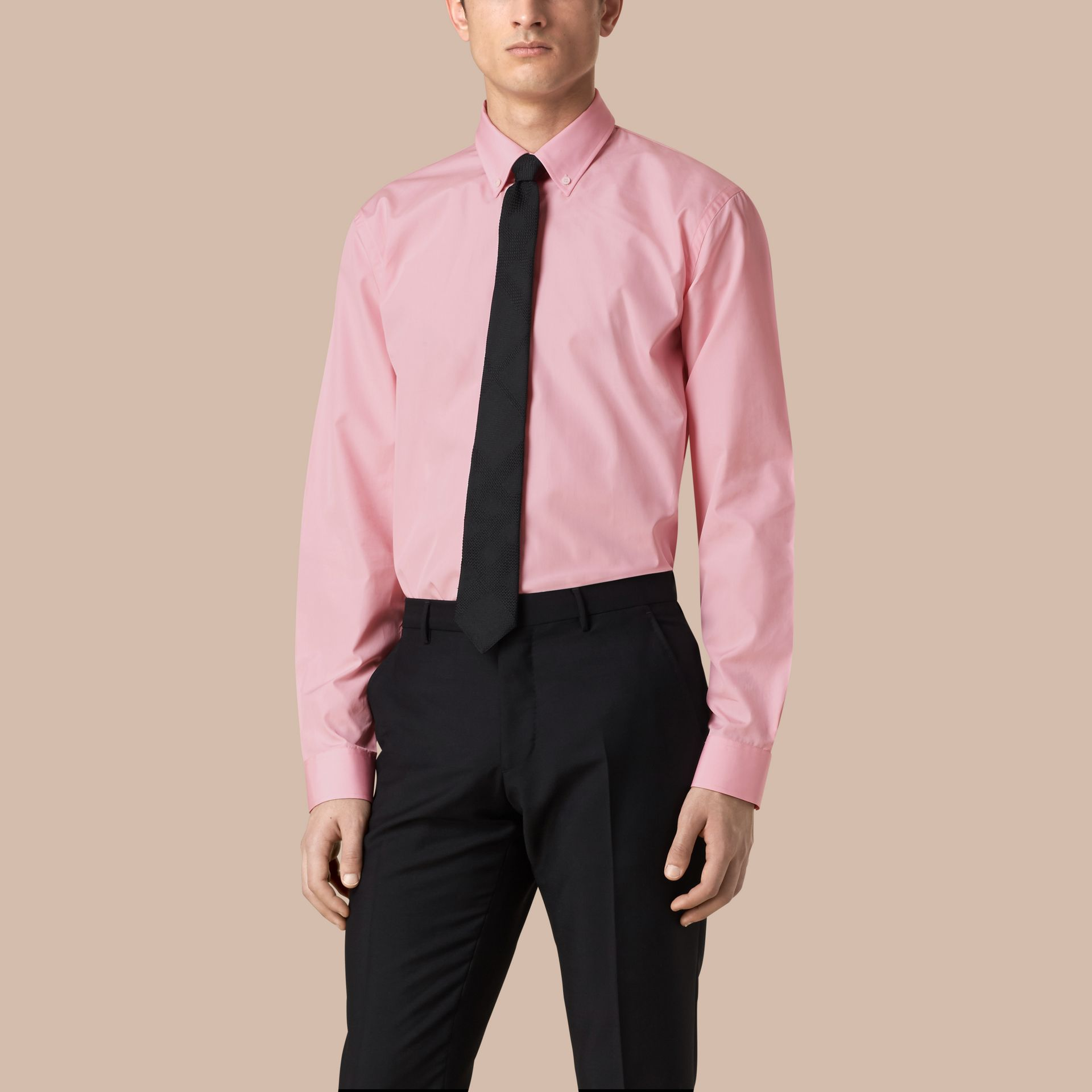 Modern Fit Button-down Collar Gingham Cotton Shirt in City Pink - gallery image 1